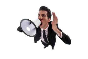 A businessman with a loudhailer.