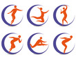 Set of sports symbols with silhouettes of human