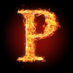 Fonts and symbols in fire for different purposes - P