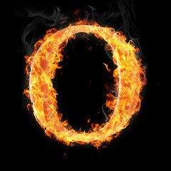 Fonts and symbols in fire on black background - O