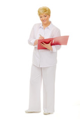 Happy senior woman with notebook
