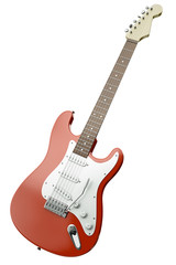Red electric guitar isolated on white background. 3D render