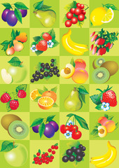 Seamless pattern of fruit and berries.