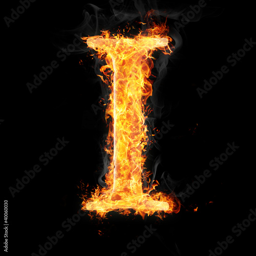 Fonts and symbols in fire on black - I