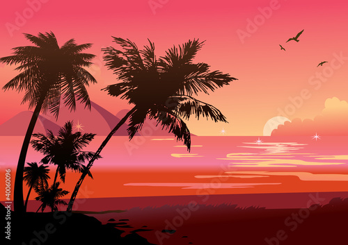 Foto op Canvas Baksteen Silhouette of the jungle on the ocean background.