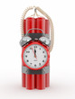 Time bomb with alarm clock detonator. Dynamit. 3d