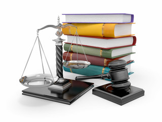 Justice concept. Law, scale and gavel