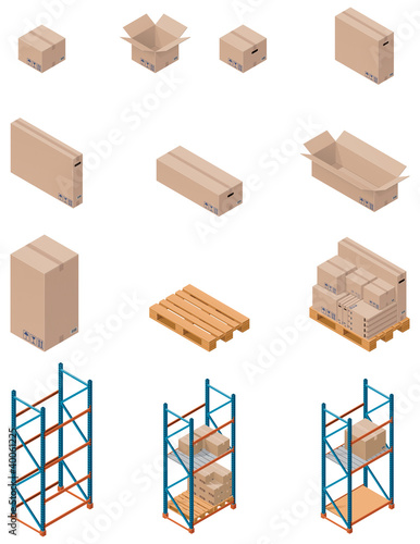 Vector boxes and shelving