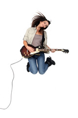 Girl with guitar jumping