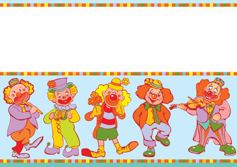 Funny clowns frame. Place for your text.