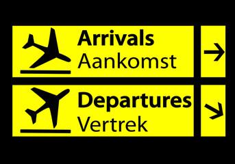 Señal de llegadas y salidas del aeropuerto en holandés