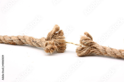 A close-up of a repture of a brown rope