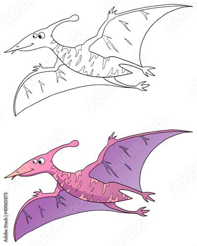 """comic dinosaurier pterodactylus coloriert und outlines"