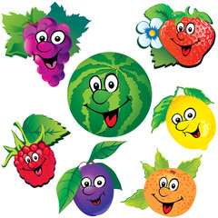 Funny fruits. Vector art-illustration.