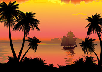 Silhouette of the jungle on the ocean background.