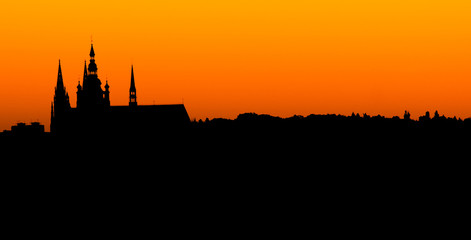 Prague cathedral at sunset in panoramic silhouette