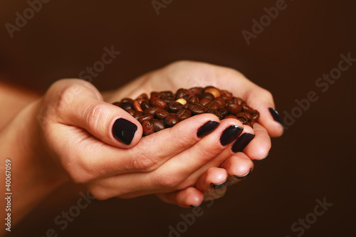 Female hands cupped holding coffee beans