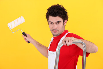 Man with a paint roller