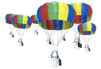 Work Team. 3D little human characters X 8 with Parachutes