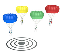 SEO. 3D little human characters X 4 with Parachutes