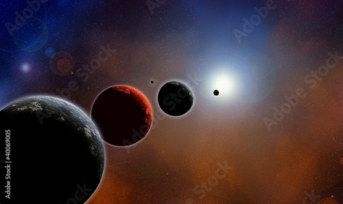 Parade of planets, deep space, color illustration