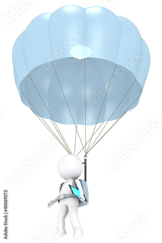 3D little human character with a Parachute and a Tablet Pad
