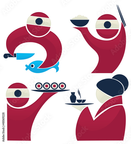 Sushi chief, vector collection of asian food - 40069228