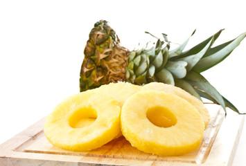 peeled slices of pineapple
