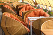 Beautiful spherical wicker chairs and tables in restaurant
