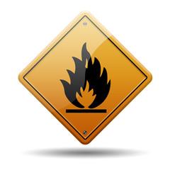 Señal naranja peligro inflamable