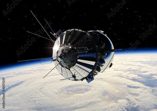 The first spaceship at the Earth orbit