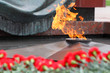 Flowers at memorial to tomb of Unknown Soldier