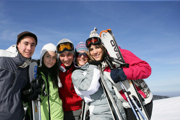 Group of friends at ski resort