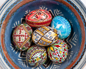 Easter eggs in blue bowl