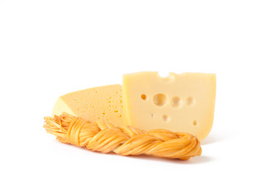 Different types of cheese on white