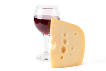 Maasdam cheese and a glass of red wine