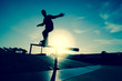 Skateboarder silhouette on a grind - 40084210