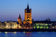 Evening view on Great St. Martin Church in Cologne