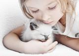 girl and  kitten - Fine Art prints