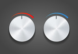 Two Metal vector knob on grey
