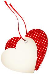 Hangtag 2 Hearts Dots Red Bow