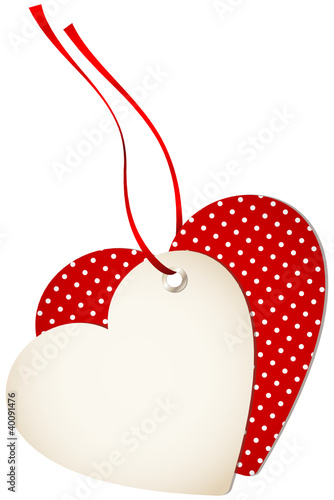 Hangtag 2 Hearts Dots Red Bow