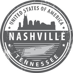 Grunge rubber stamp with name of Tennessee, Nashville, vector