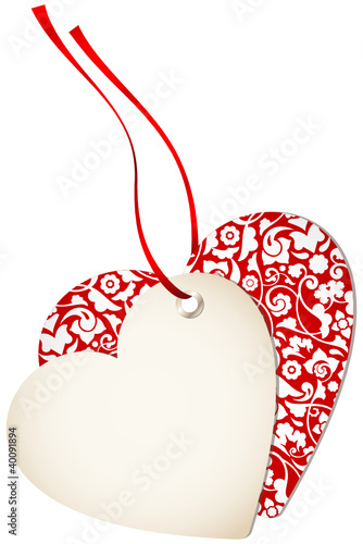 Hangtag 2 Hearts Floral Red Bow