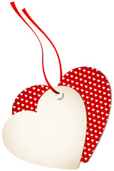 Hangtag 2 Hearts Hearts Red Bow