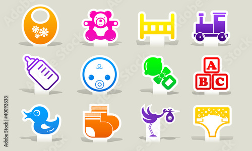 clip-art color icons baby