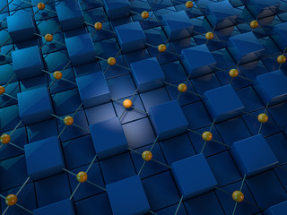 blue cubes connected by orange spheres