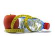 messband mit apfel und wasserflasche