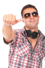 man with headphones and making ok sign