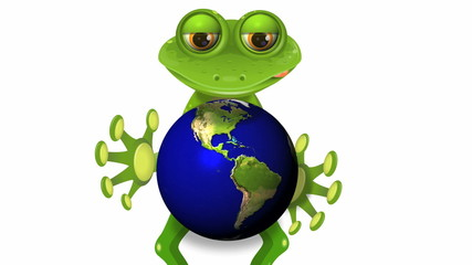 frog and globe
